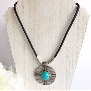 Jewelry - Cord Silver Tone Faux Turquoise Pendant Necklace